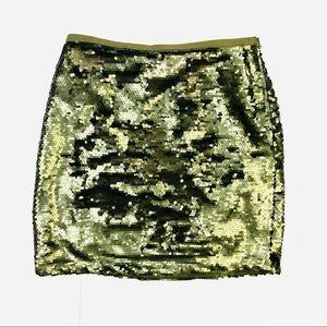 Ann Taylor Loft Olive Green Sequin Skirt 6 New
